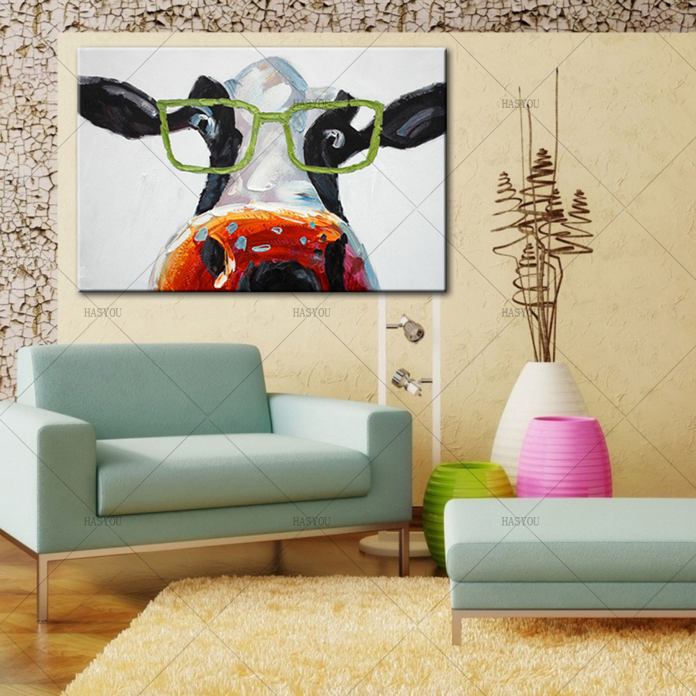 Pop cartoon handmade large canvas paintings glass cow oil - Oil painting ideas for living room ...