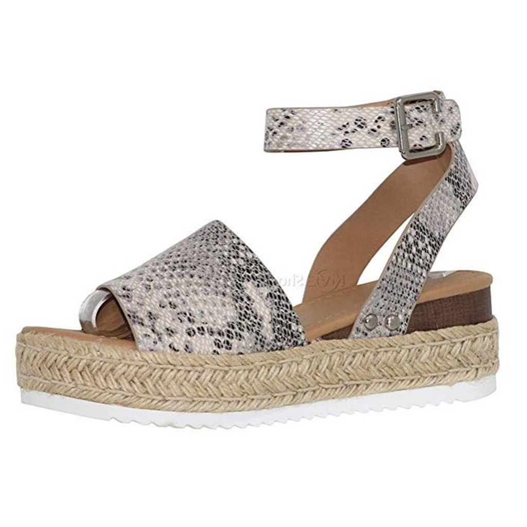 Shoes Klv Wedges Shoes For Women Snake Print Fashion Ankle Strap Sandals Wedges Retro Platform Shoes Open Toe Sandals Zapatos De Mujer