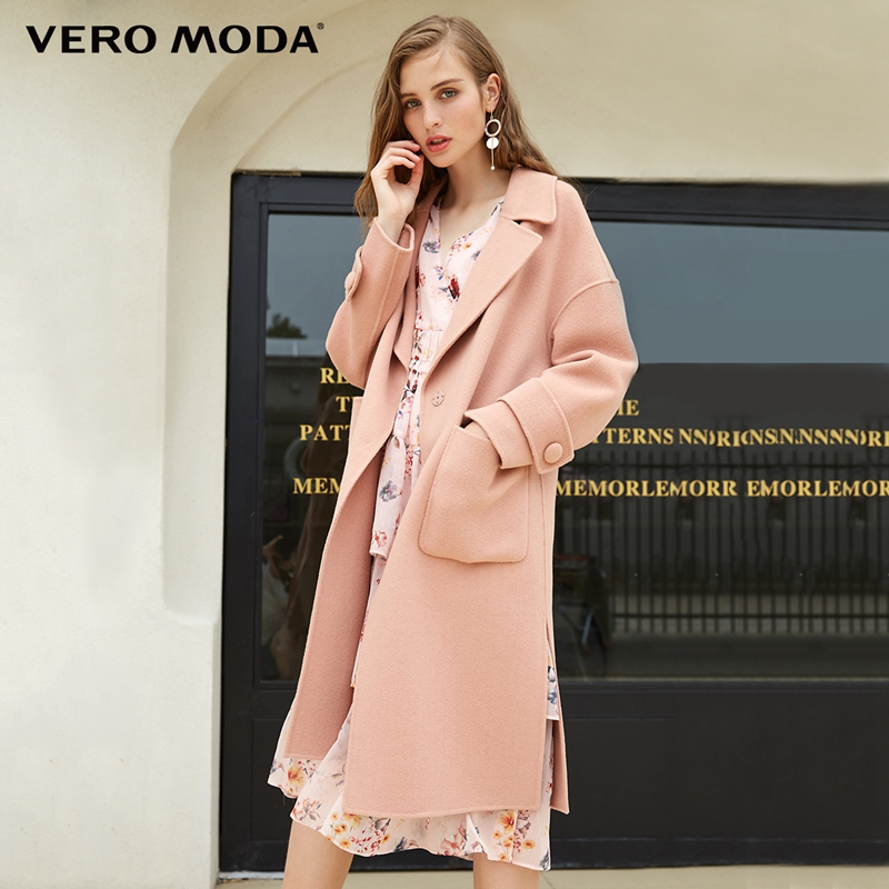Vero Moda Women s new 100 wool double sided off the shoulder woolen overcoat 318327502