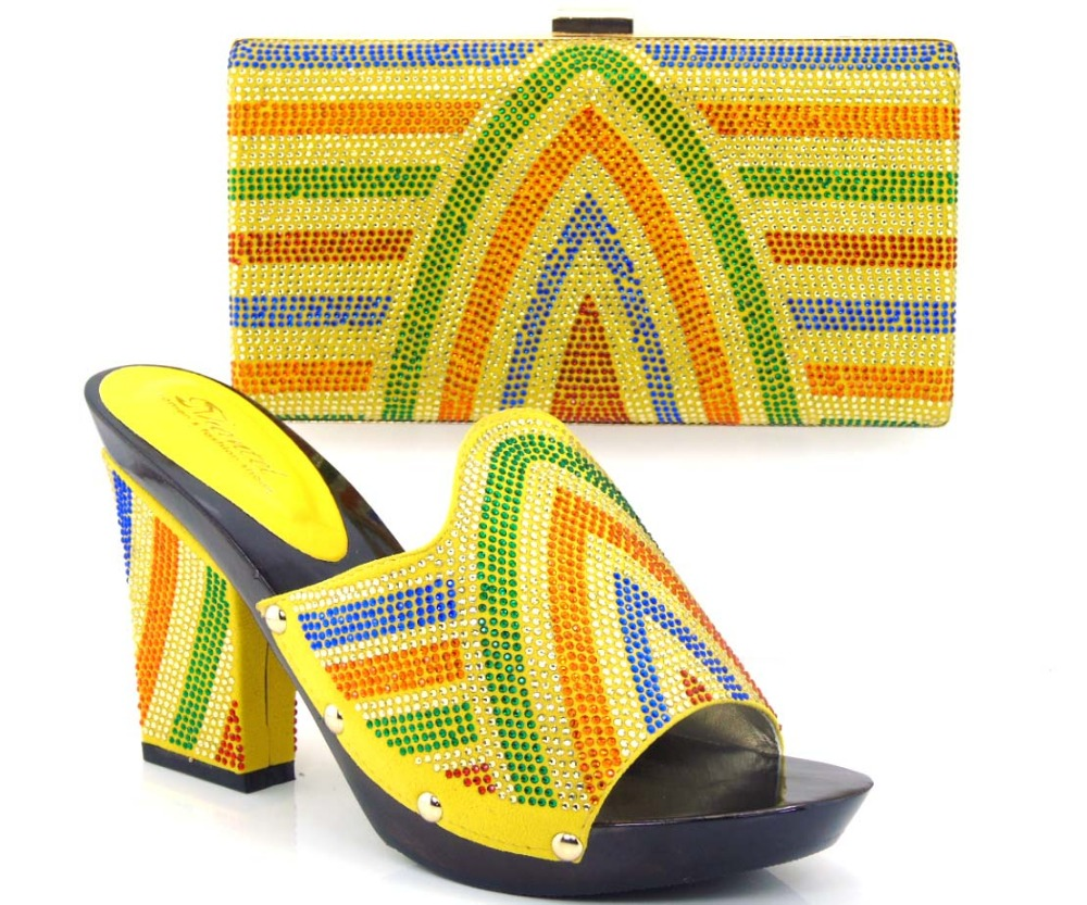 ФОТО yellow!2015 Latest African Matching Shoes And Bag Set Free Shipping Italian Matching Shoe And Bag!HVZ1-24