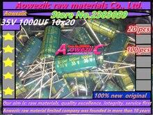Aoweziic {100 ADET} 35 V 1000 UF 10*20 yüksek frekans düşük direnç uzun ömürlü inline elektrolitik kondansatör 1000 UF 35 V 10x20