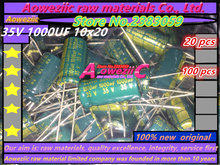 Aoweziic {100 PCS} 35V 1000UF 10*20 high frequency low resistance long life inline electrolytic capacitor 1000UF 35V 10x20