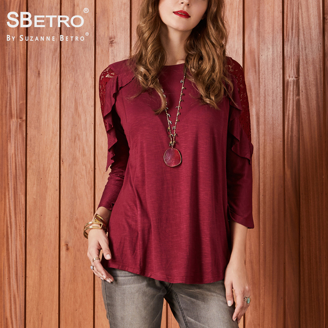 07593e98a0b859 SBetro by Suzanne Betro Casual Blouse Shirt Red Ruffle Lace Crewneck Cold  Shoulder 3 4 Long Sleeve Solid Tunic Top Women Blouses