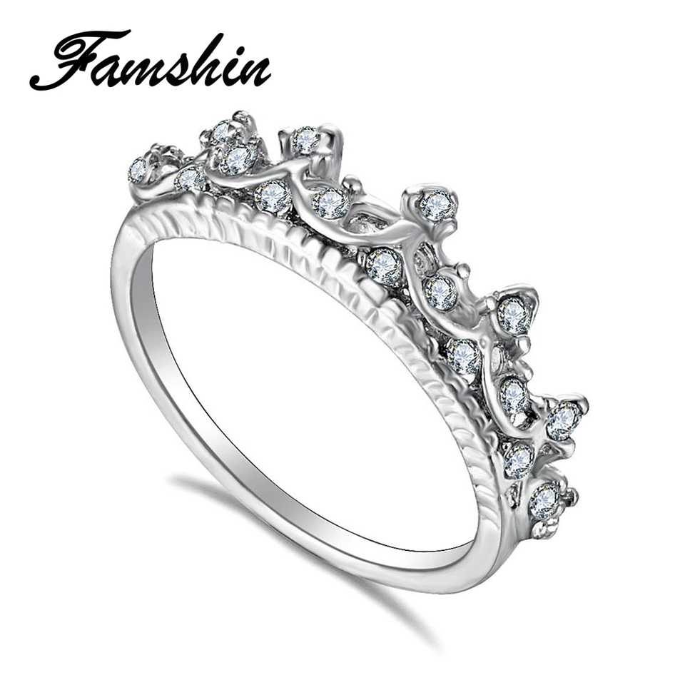 Fashion Princess Women Crystal Hollow Crown Ring For Engagement Jewelry Gifts LD