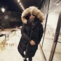 2016 de inverno novos modelos Coreanos jaqueta com uma longa seção das mulheres solto grosso grosso pele de guaxinim gola de pele de pato quente casaco