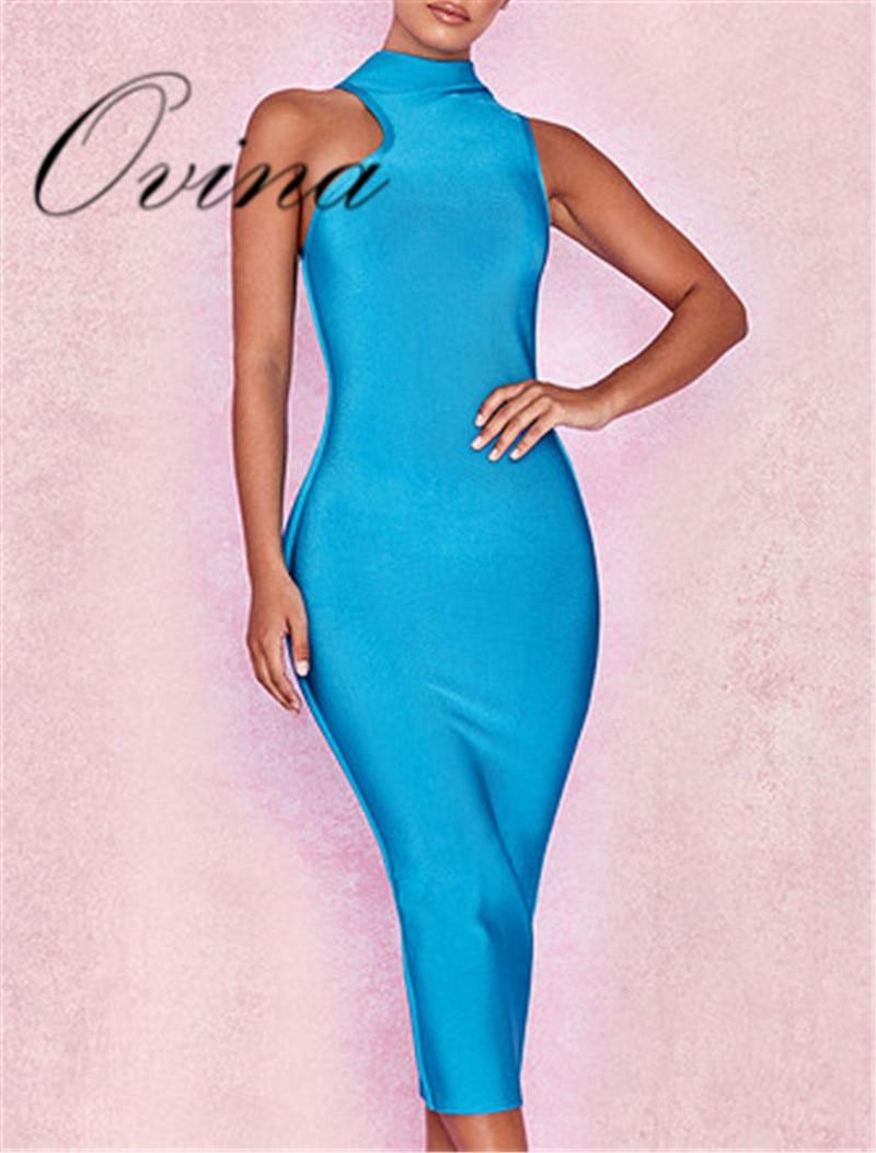 Nouveau Femmes Bandage Des Solide Robe De Blue Soirée Fendue Moulante Celebrity Slip Bleu 3LA5R4j