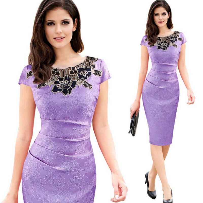 Womens Elegant Sexy Crochet Hollow Out Pinup Party Evening Special Occasion Sheath Fitted Vestidos Dress 1