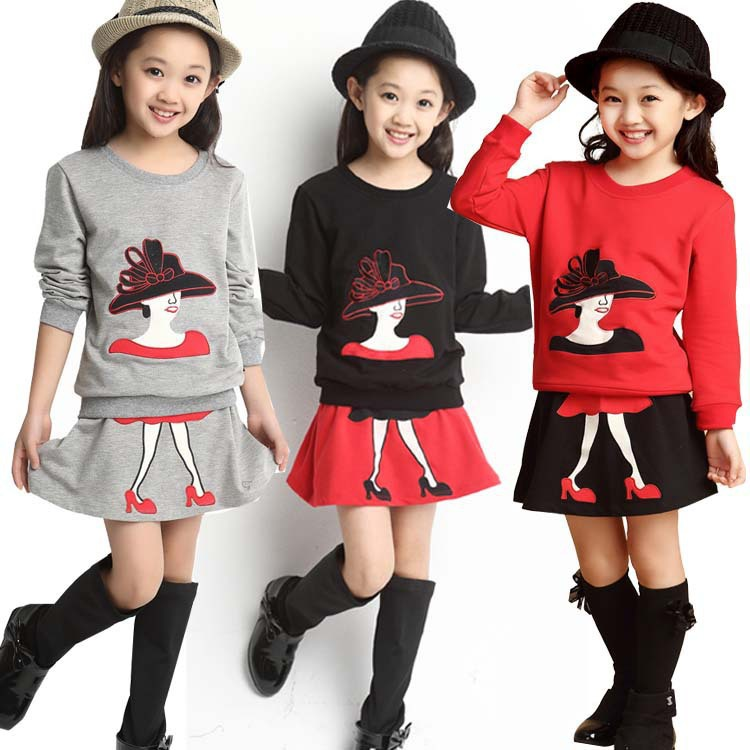 J.G 2Pcs/Set 8-16 Years Kids Clothes Girls Clothing Sets Baby Girl Cartoon T-Shirt Skirt Children Girl Dress Clothes Winter Warm fashion kids baby girl dress clothes grey sweater top with dresses costume cotton children clothing girls set 2 pcs 2 7 years