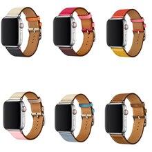 цена newest genuine Leather strap for apple watch band single tour belt 44mm 40mm For iwatch bracelet series 4/3/2/1 38mm 42mm онлайн в 2017 году