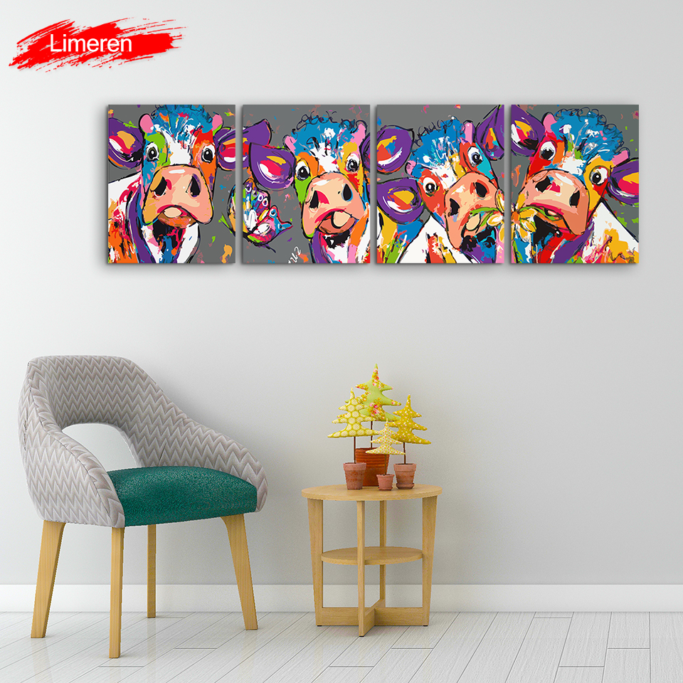 Vrolijk Schilderij 4 Pcs Set Wall Art Canvas Oil Painting By Numbers Abstract Colorful Cow Animals