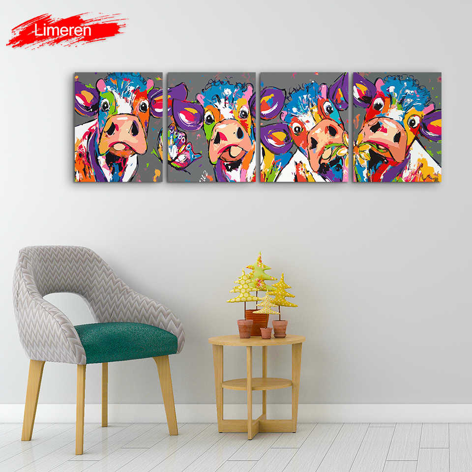 Vrolijk Schilderij 4 Pcs/Set Wall Art Canvas Oil Painting By Numbers Abstract Colorful Cow Animals Handpaint Home Decor No Frame