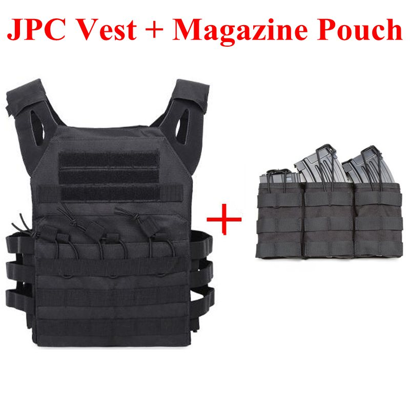 Tactical JPC Vest Plate Carry Protection Vest Airsoft Paintball Military Army Body Armor With Triple Magazine Pouch