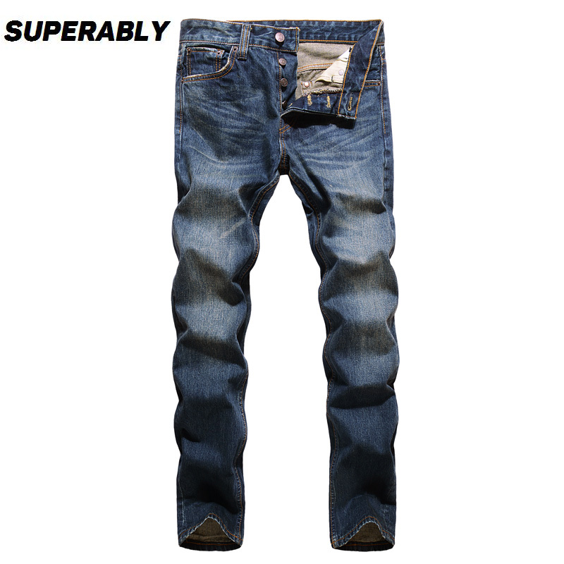 Classical Fashion Men Jeans Vintage Straight Slim Fit Denim Buttons Pants Superably Brand Jeans Men Simple Casual Business Jeans italian style fashion men s jeans shorts high quality vintage retro designer classical short ripped jeans brand denim shorts men