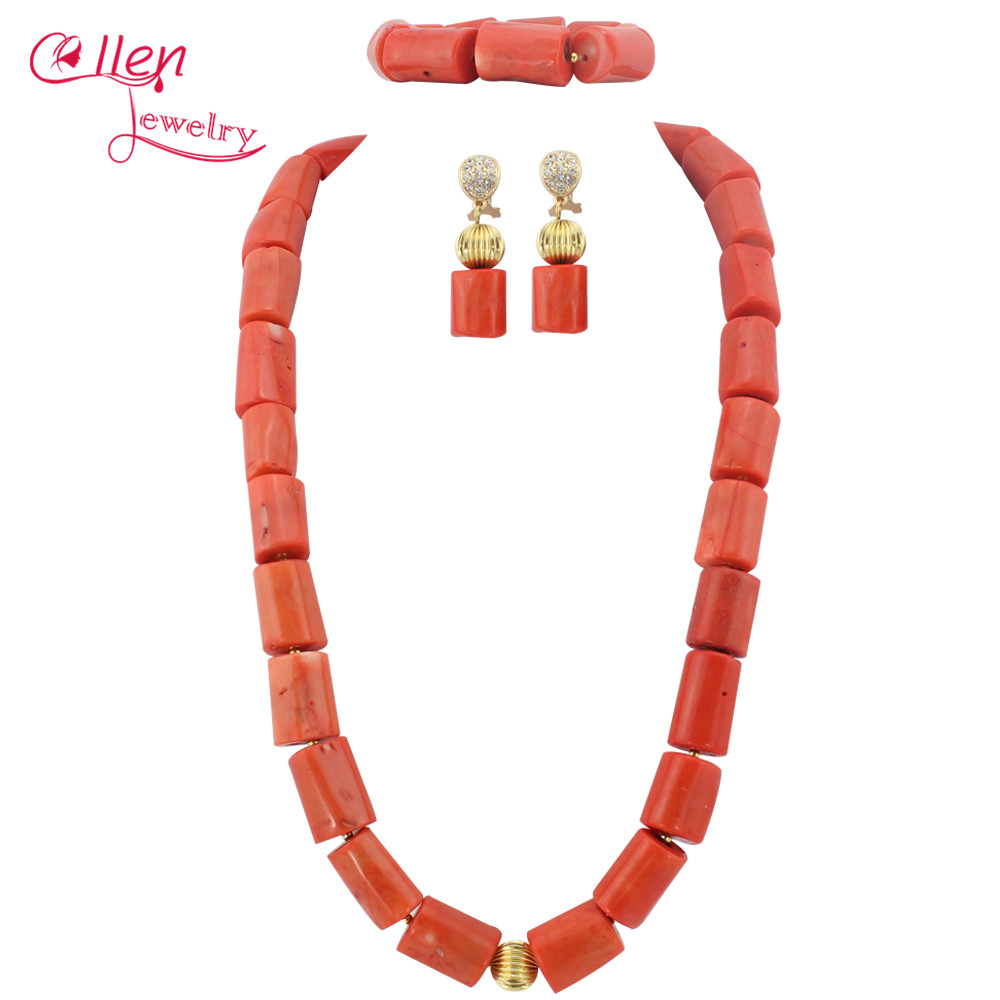 Big Size African Nigerian Wedding Beads Jewelry Set Coral Jewelry Set Coral Beads Necklace Set African Jewelry Set   TL1806Big Size African Nigerian Wedding Beads Jewelry Set Coral Jewelry Set Coral Beads Necklace Set African Jewelry Set   TL1806