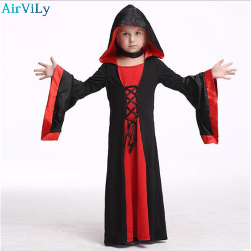 2017 Rushed Girls Halloween Dress Kids Witch Robe Cosplay Clothing for Baby Toddler Party Gown Children Costume Child Clothes