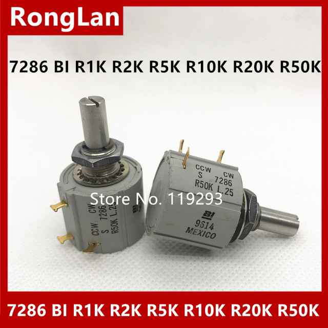 [BELLA] 7286 Mexican production BI R1K R2K R5K R10K R20K R50K multi turn potentiometer CCW CW  3PCS/LOT
