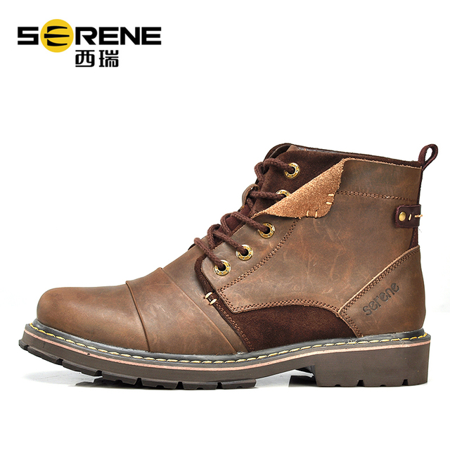 Ankle Boots For Men Leather Genuine Designer Shoes Vintag Patchwork Causal Footwear Mens Autumn Shoes British Style Black Shoes