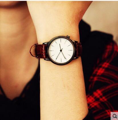 Watch female student Korean fashion trend simple Big dial male watch belt female watch Couple watch цена и фото