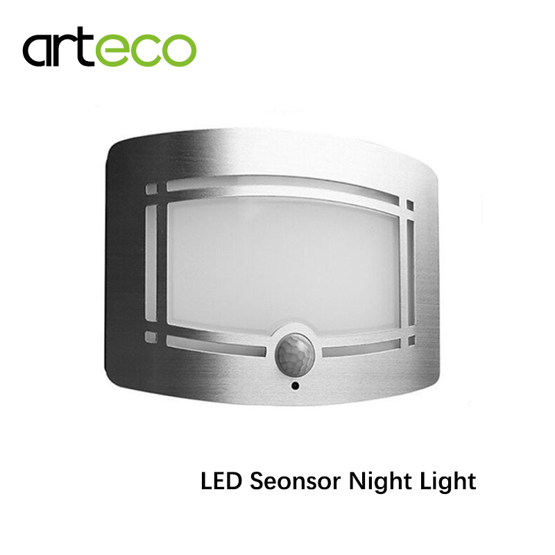 Baterai Powered LED Sensor Night Light PIR Motion sensor Wall Light Putih untuk Home Door Path Laundry Stair Light