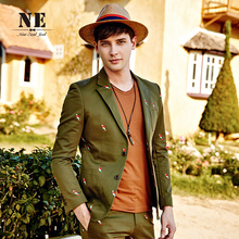 2016 Spring New 79 Cotton Full Sleeve Single Breasted Suit Jacket Brand Clothing Men Blazers And