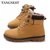 Tangnest Winter Fur Men Boots Casual Lace Up Safety Work Boots Autumn Men Platform Shoes Rubber
