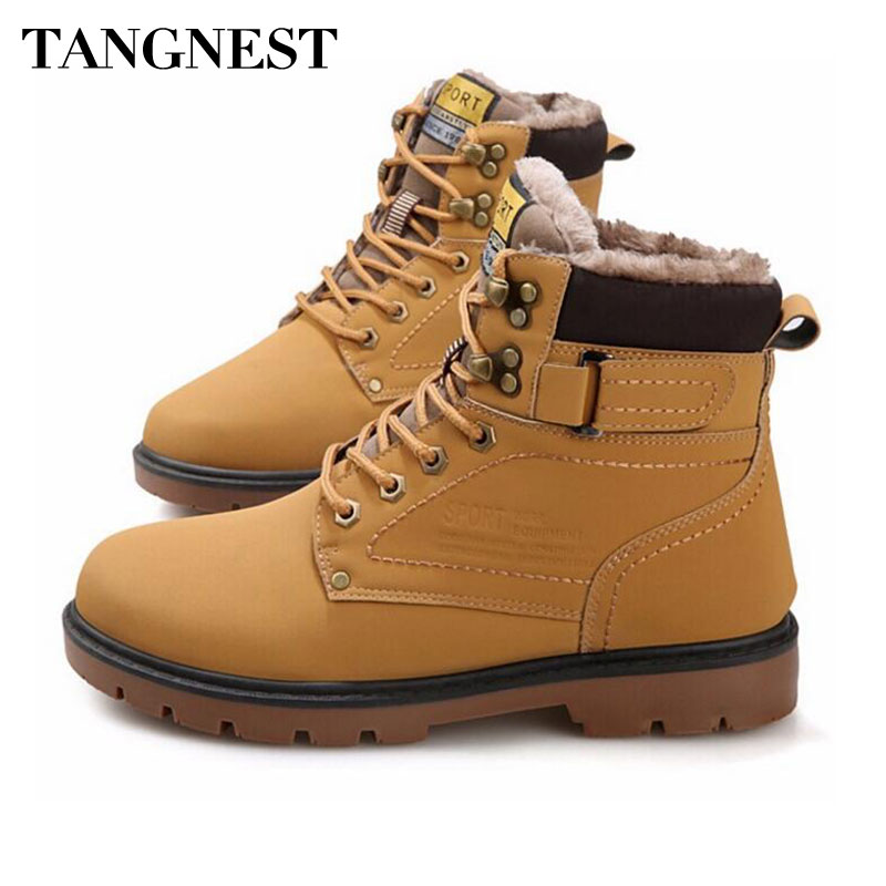 Tangnest Winter Fur Men Boots Casual Lace Up Safety Work Boots Autumn Men Platform Shoes Rubber Snow Boot Man Big Size 46 XMX637 цена 2017