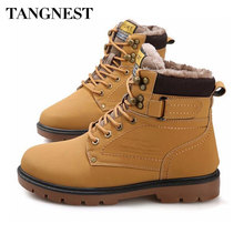 Tangnest Winter Fur Men Boots Casual Lace Up Safety Work Autumn Platform Shoes Rubber Snow Boot Man Big Size 46 XMX637