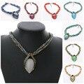 Alta Calidad de La Vendimia Étnica Collares Joyas de Cristal Mujeres Gema Ovalada Clase De Cuentas de Ópalo Collar Colgante Collar Collar de la Declaración
