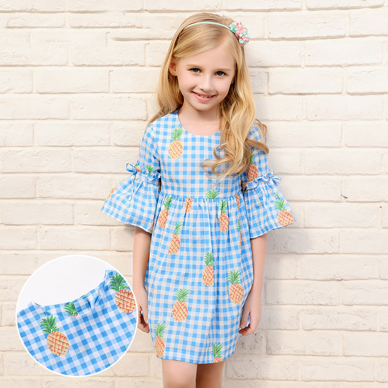 Girls Brand Dresses For Summer Short Sleeves A Line With Pineapple Printing Cute Blue Dress Baby Children Kids Clothing QZ8006
