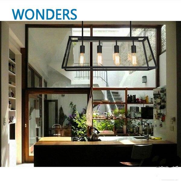 Archaistic glass box lampshade retro loft vintage pendant lamp dinning room restaurant font b light b