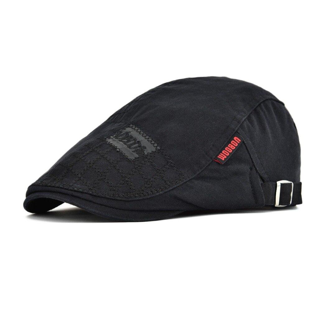 VOBOOM Black Cotton Flat Cap Men Ivy Caps Cabbies Hat Adjustable Newsboy Baker Boy Hats Retro Male Boina 100