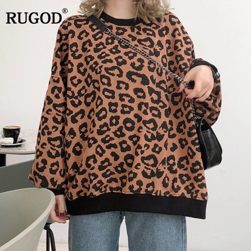 RUGOD nouveau léopard pulls femmes décontracté tricoté lâche pull femmes grande taille mode femmes vêtements pull hiver femme 2019