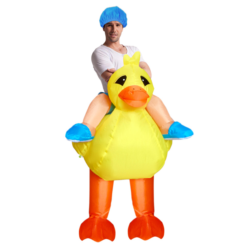 Adults Kids Inflatable Duck Costume Yellow Duck Rider Inflatable Costume Halloween Costumes Women Animal Mascot Cosplay Costume