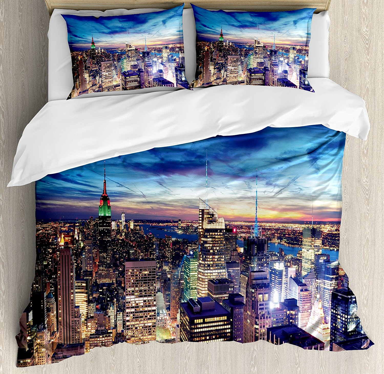 City Duvet Cover Set Empire State and Skyscrapers of Midtown Manhattan New York Aerial View at Dusk, 4 Piece Bedding Set