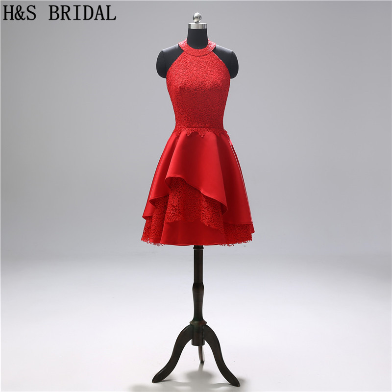 H&S BRIDAL Red   Cocktail     Dresses   Lace Backless Short Girls Graduation   Dress   robe   cocktail     Dress   Party