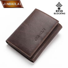 JINBAOLAI Vintage Genuine Leather Wallet  Men Trifold Wallets with Coin Pocket with RFID Trifold Design Credit Card Holder Purse mingclan vintage trifold genuine leather wallet men design cowhide leather id card holder male purse short coin pocket bag purse