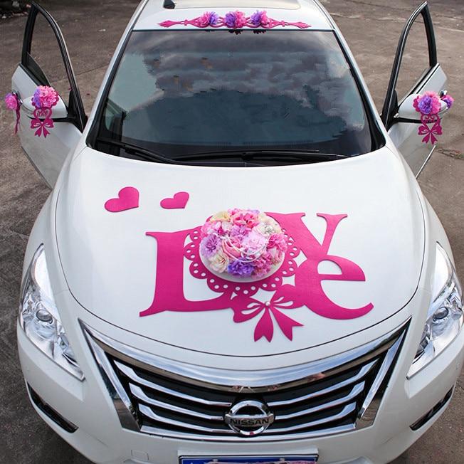 2017 NEW Flannel LOVE PE Rose Flowers Pearl Wedding Car