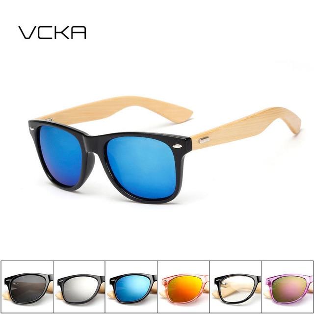 f5e1bdb2e3d VCKA Retro Bamboo Wood Sunglasses Men Women Brand Designer polar Goggles  Gold Mirror Sun Glasses UV400