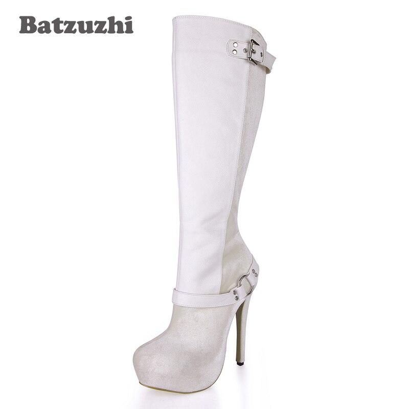 Batzuzhi Beige Platfrom Chaussures Bottes Femmes Talons Cm Hauts Boucle Mode Zip En 3 À Hauteur Genou 14 Ultra Du Longues Cuir De Avec rwCqgr6