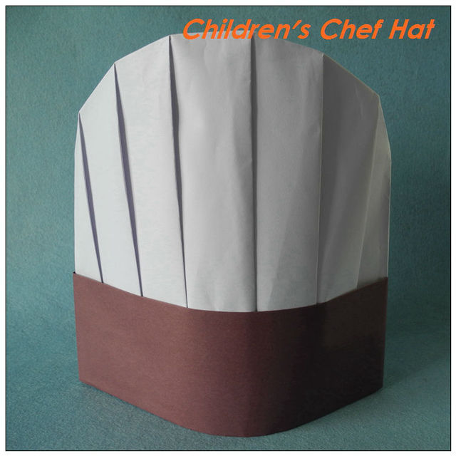 ba40cf39f36 White+Brown red Paper Chef hat 23cm 9