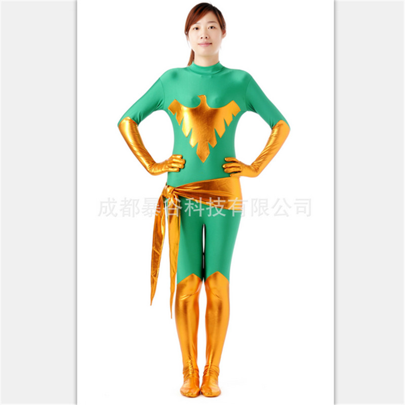 2018 Black Phoenix costume X Police officer Zentai suit Glue tights Latex Pvc Game Uniforms Bodysuit Halloween Catsuit Costume