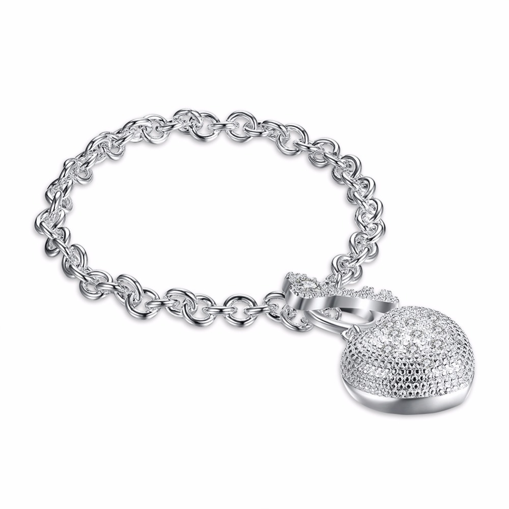 Hot 925 sterling silver bracelet fashion circular chain heart-shaped key accessories are not allergic deformation