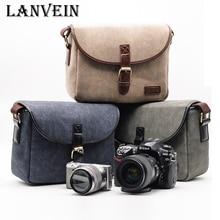 Lanvein foto saco de lona ombro digitais saco da câmera dslr profissional câmera mochila de viagem para sony nikon canon camera