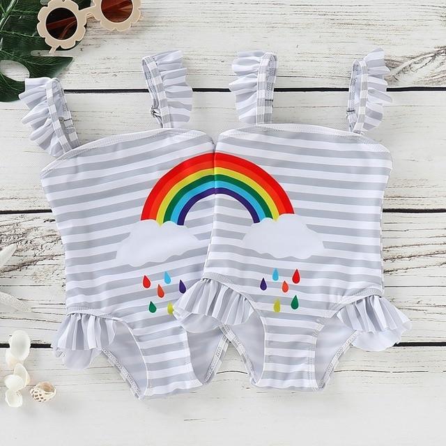 Pakaian Gadis Bikini Baju Renang untuk Pakaian Renang Anak Bayi Anak Pantai Baju Renang Bikini Pantai Strip Rainbow Cetak One Piece
