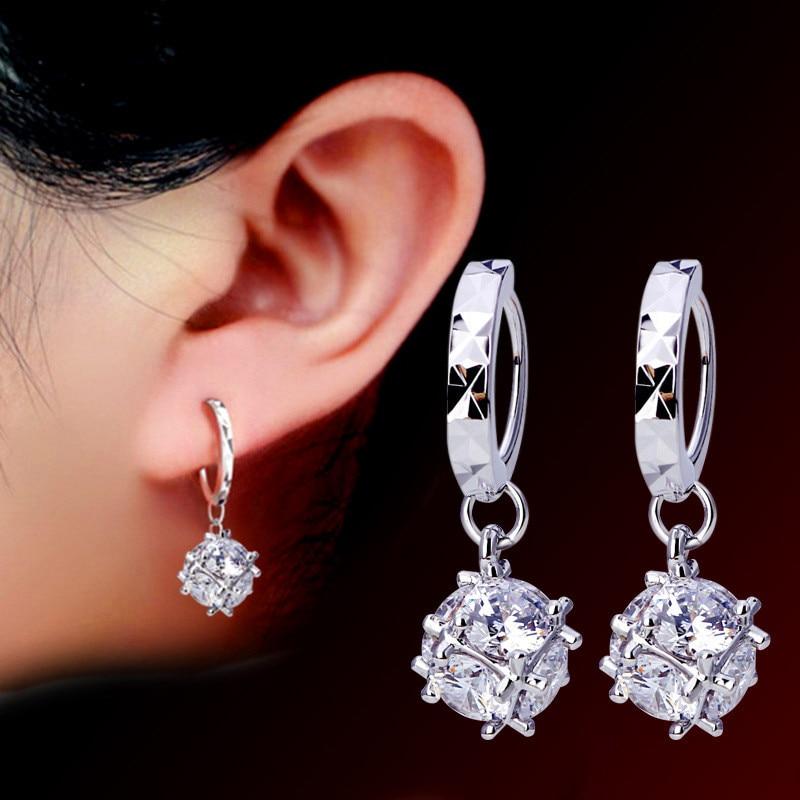 JUNXIN Cute Round Crystal Hoop Earrings For Women Silver Color Ladies White Zircon Stone Wedding Earrings Girls Jewelry