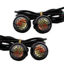 4 Pcs 23mm LED Lâmpada Dupla Cor Branca/Âmbar 4014 12 SMD Eagle Eye 12 V Diodo Emissor de Luz motocicleta Car Styling DRL