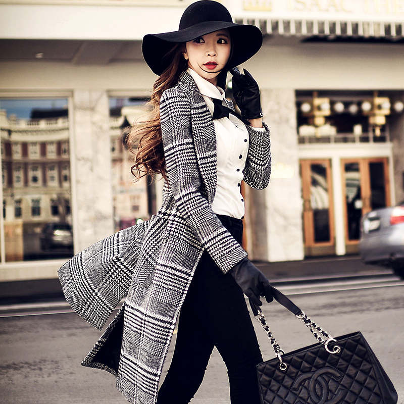 Original 2016 Brand Coats Women Autumn Winter England Style Runway  Elegant Woolen Black Plaid Extra Long Coat Female