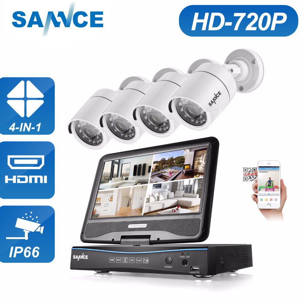 SANNCE 8CH 720P AHD DVR Built in 10 1 inch LCD Monitor 1500TVL Outdoor Weatherproof CCTV