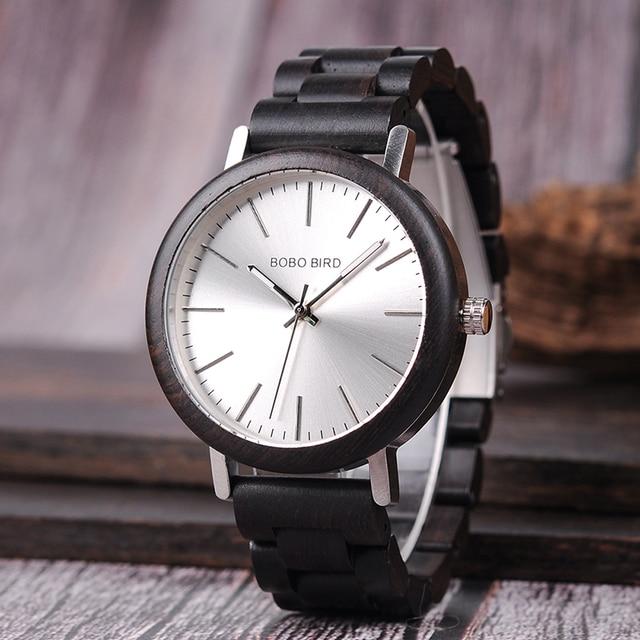Relojes de madera para hombre combinación metal con caja 5
