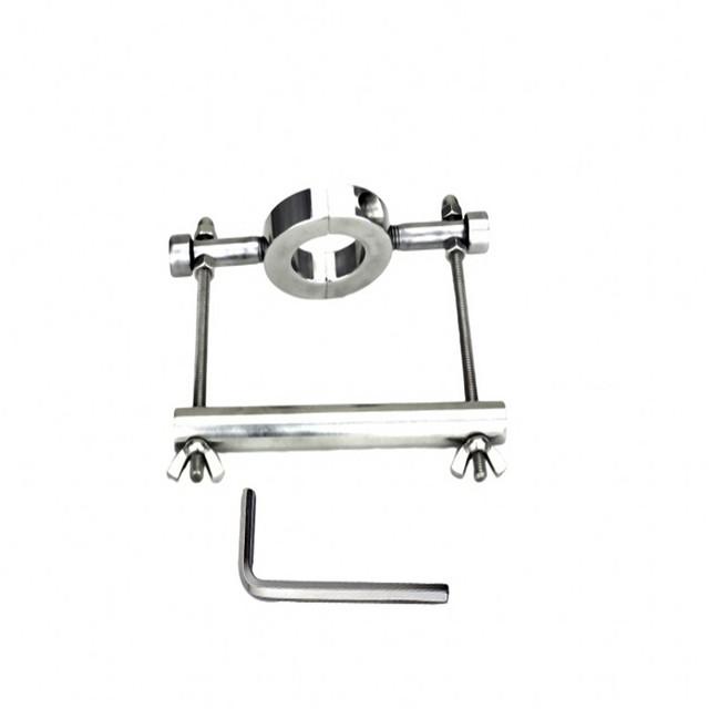 Maca bola de aço de metal ajustável Cuff Triturador de Fixação Escroto Testicular Tortura Bondage Chastity Dispositivo brinquedos sensuais